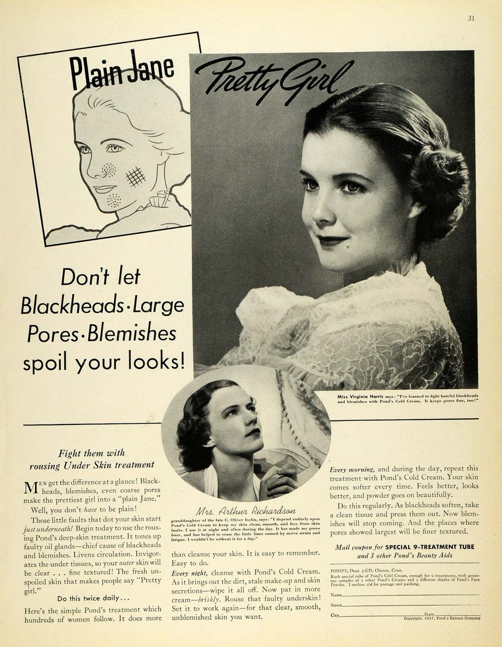 1937 Ad Pond's Cold Cream
